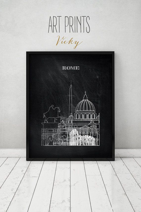 Rome print, Poster, Wall art of Rome, Italy cityscape, Rome skyline ...