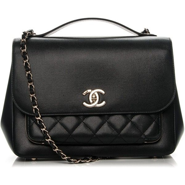 Chanel Caviar Quilted Large Business Affinity Flap Black Liked On Polyvore Featuring Bags Handbags Purses Leather Tote Purse