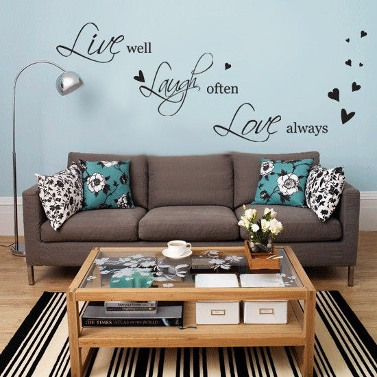Live Laugh Love Wall Stickers So So Cute Teal Living Rooms Blue Living Room Brown Living Room