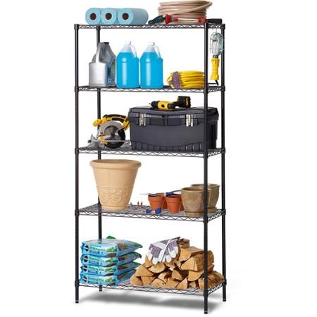 Work Choice 5-Tier Commercial Wire Shelving Rack, Black - Walmart ...