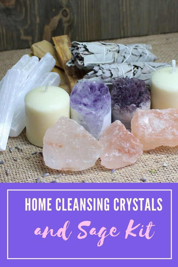 Home cleansing crystals and sage kit ad crystals etsy