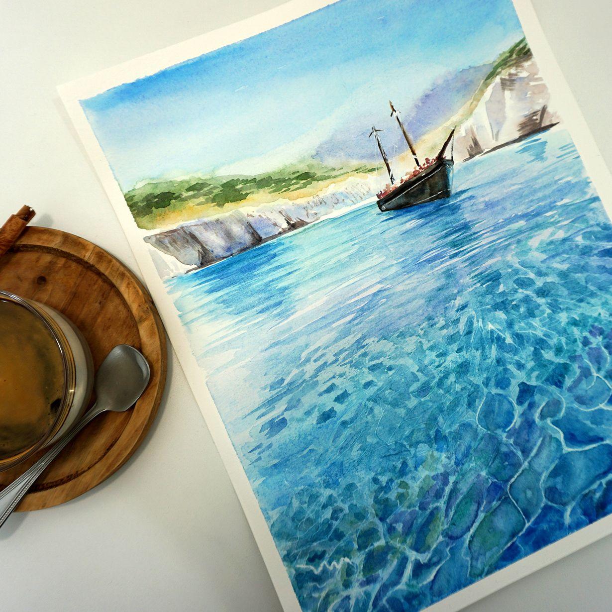 Boat In The Ocean Watercolor Ocean Watercolor Paintings