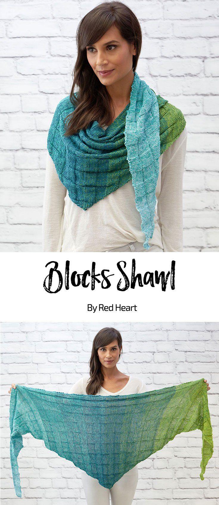 Blocks Shawl free knit pattern in It\'s a Wrap Rainbow yarn. Make a ...