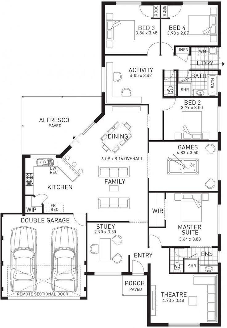 Change The Study To A Mudroom Bootroom Laundry Room With Access To Garage Make The Theatre Into Walk In Clo Bedroom House Plans House Layout Plans House Plans