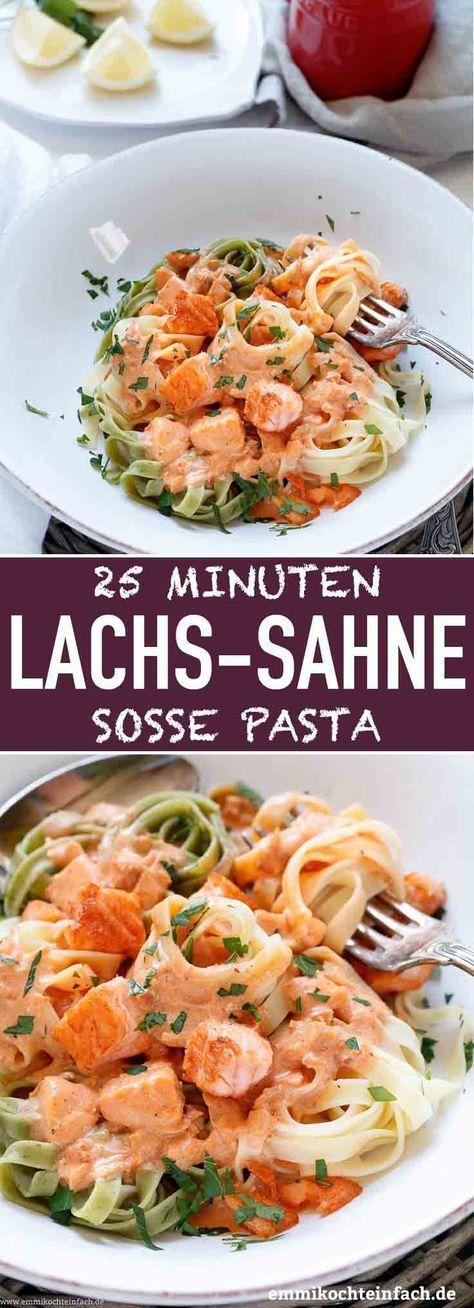 Pasta mit Lachs Sahnesoße in 25 Minuten - emmikochteinfach