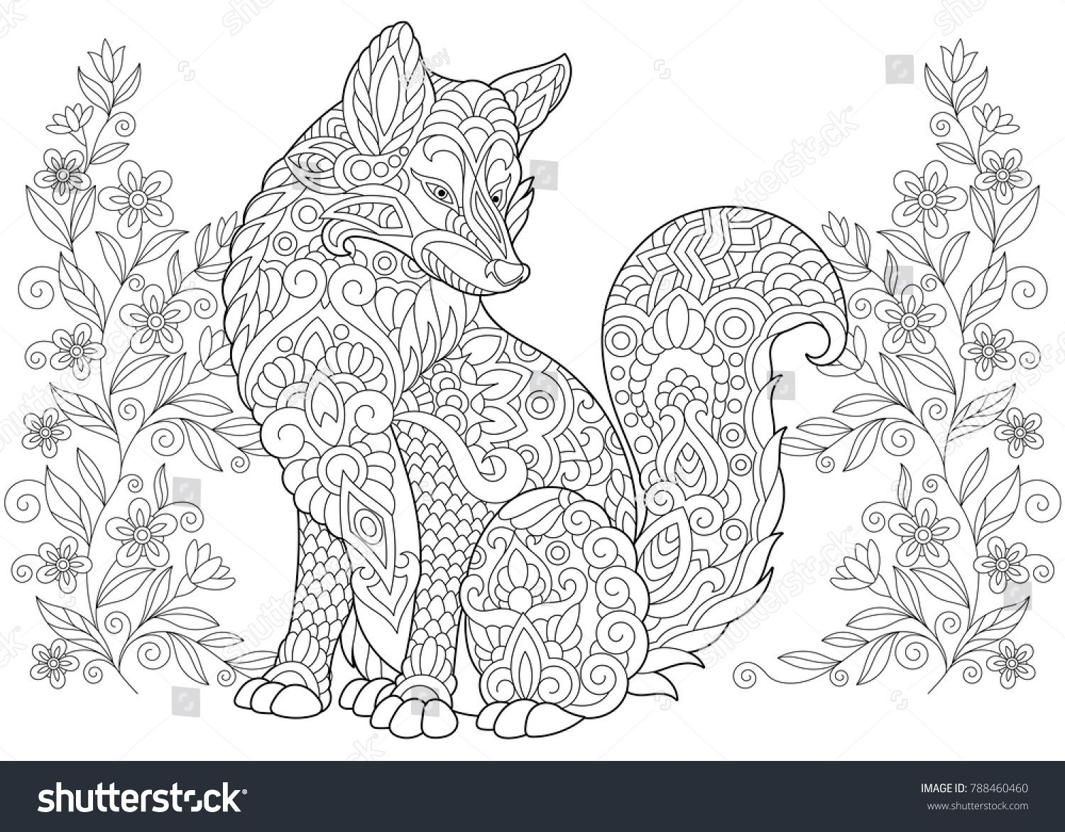 Coloring Page Adult Coloring Book Wild Fox And Summer Or Spring
