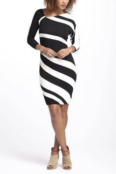 Diagonal Structural Line Dress Fashion Curves Clothing Column Dress