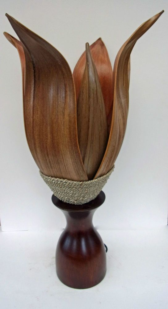 Unusual Banana Palm Leaf Table Lamp With Mahogany Base Ethnic Bali Flower  Lamp