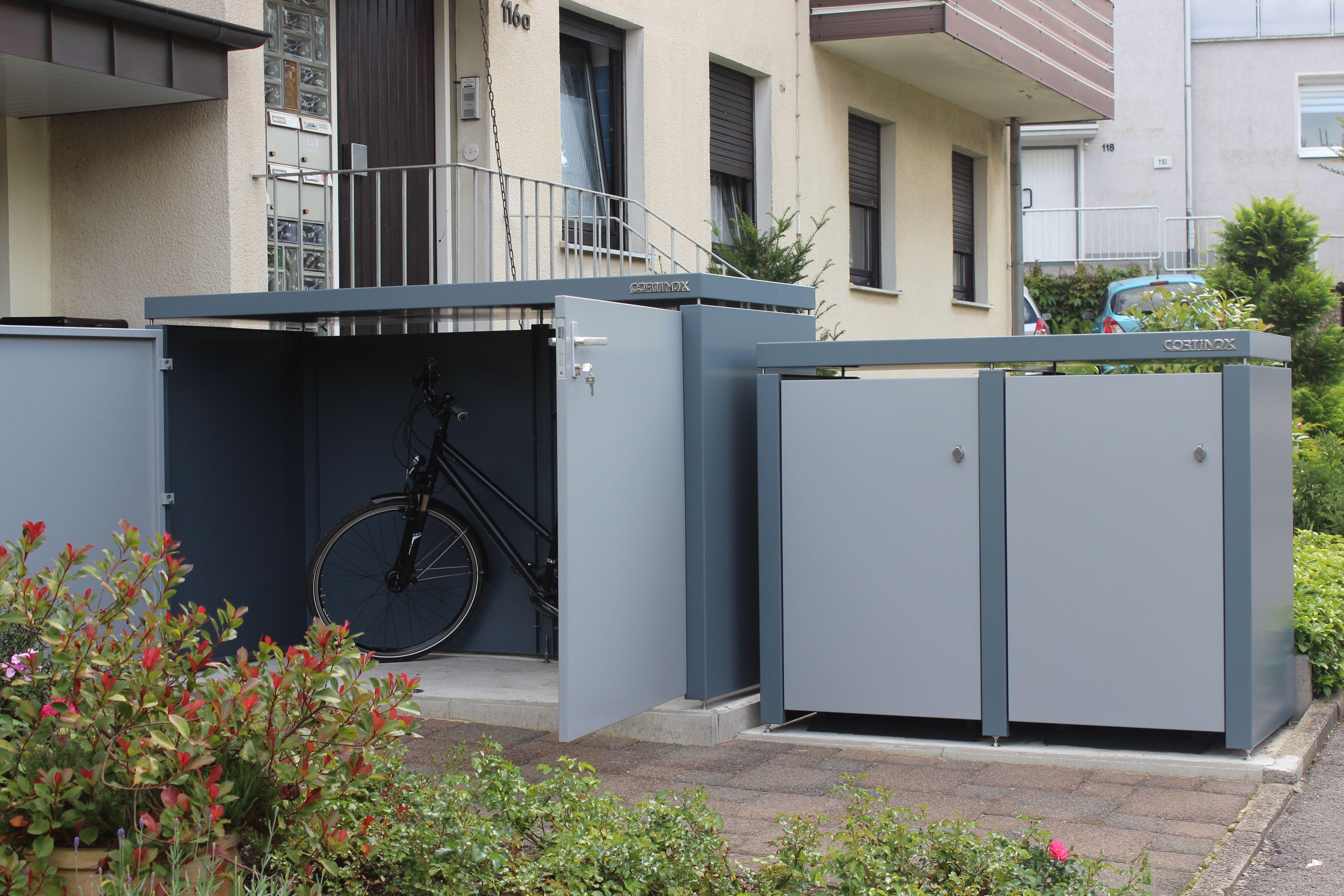 Mülltonnenbox mit angeschlossener Kleingarage Fahrradgarage