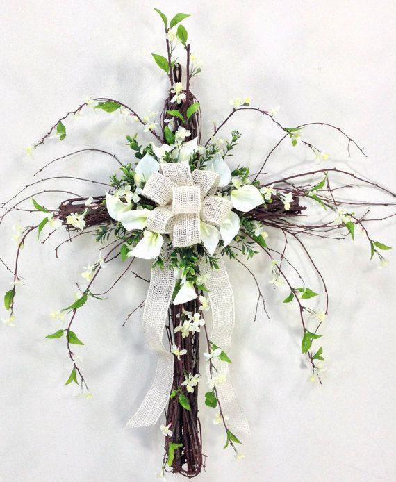 Wispy Grapevine Cross Decoracion Arreglos Florales