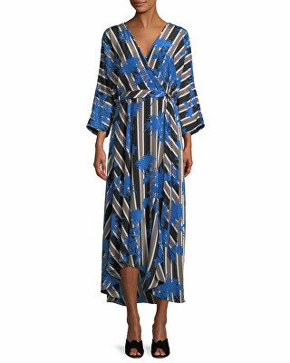 c3469ddc8f7 Diane von Furstenberg Designer Eloise Striped Asymmetric Midi Wrap Dress