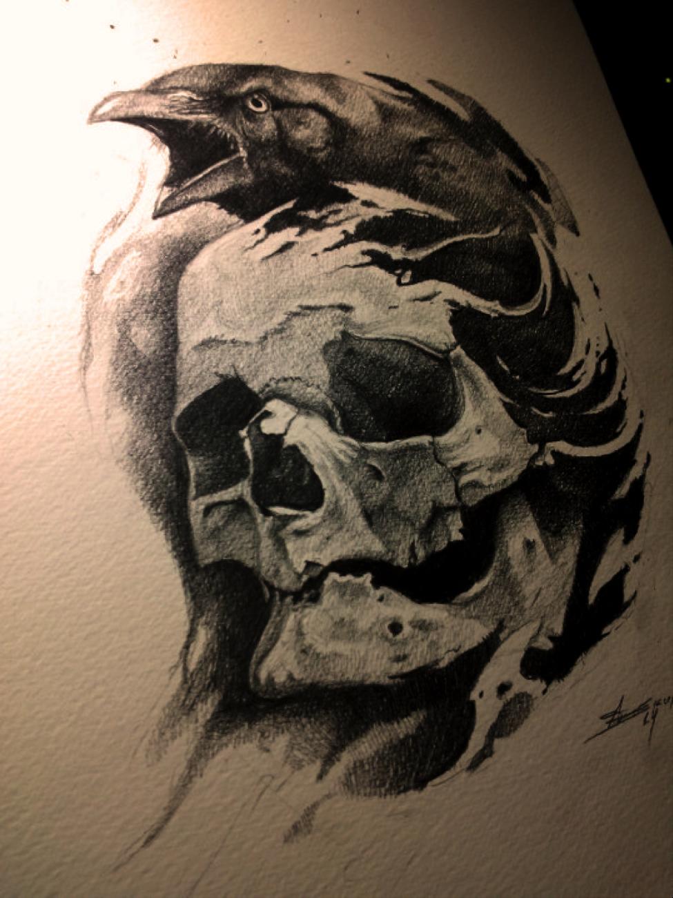 значение тату ворон с черепом (с изображениями) | Ворон ...