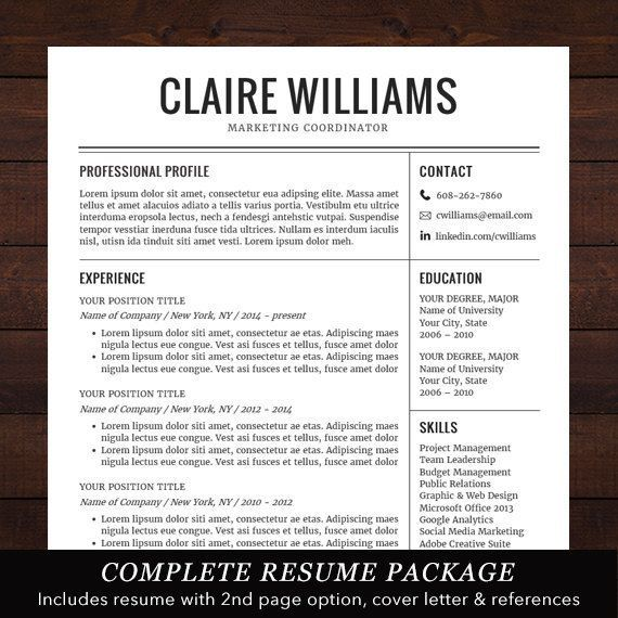 Professional Resume Template Free Cover Letter Instant Download Mac Or PC