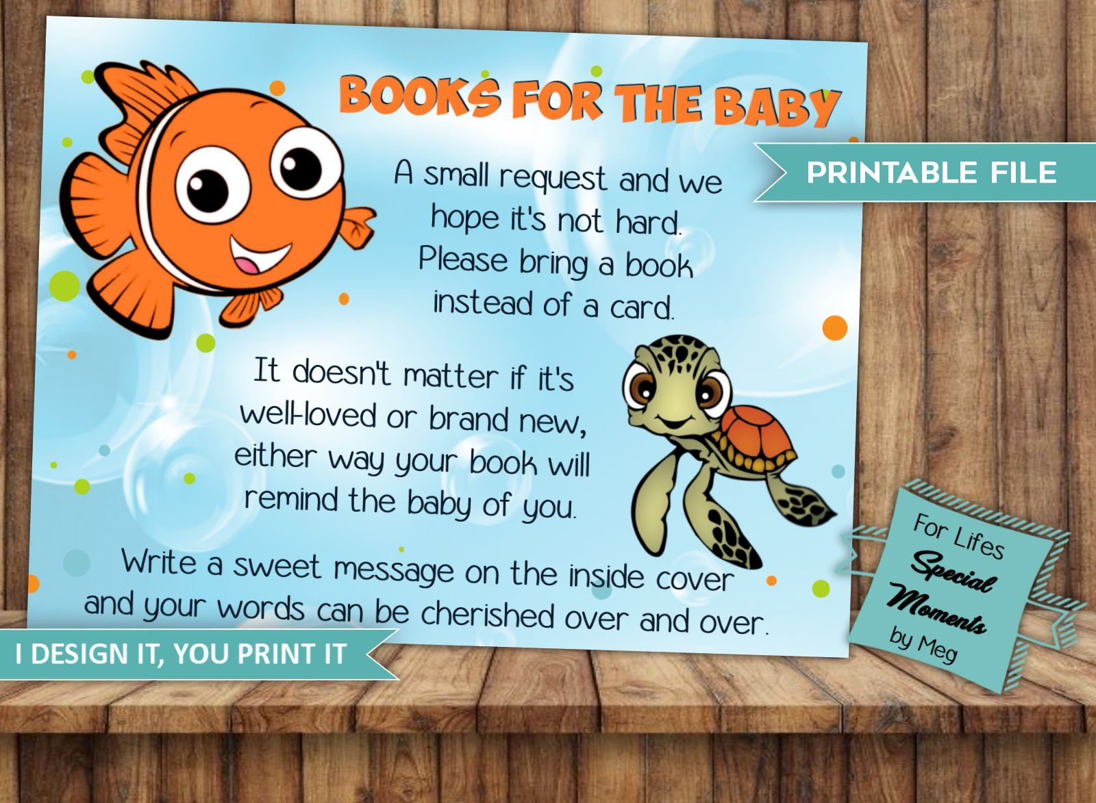 Finding Nemo Book Request Tickets For Baby Shower Instant Download