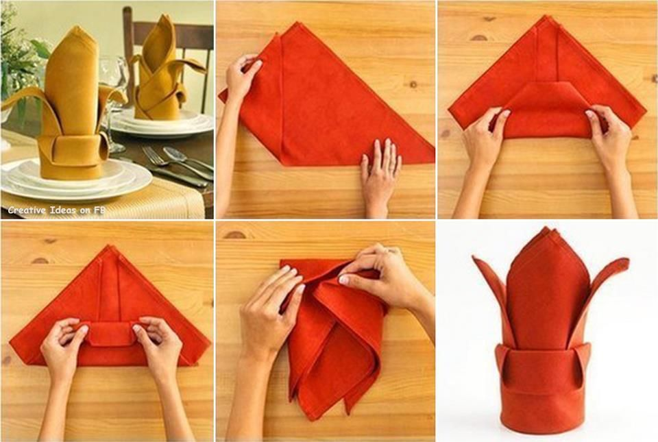 Napkin Folding Instructions For The The Crown Napkin Fold