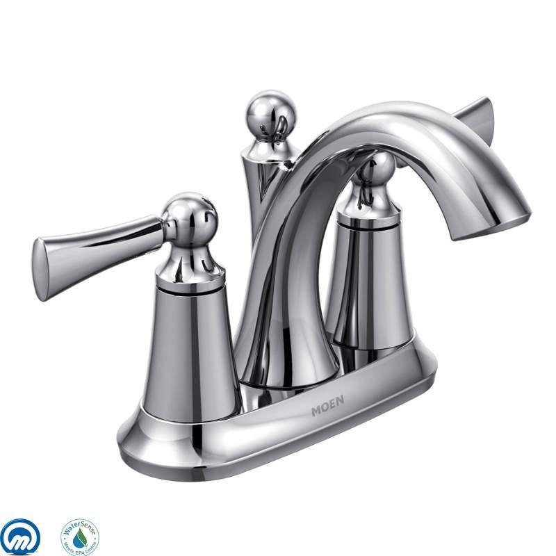 Moen 4505 Wynford Centerset High Arc Bathroom Faucet Valve Included Chrome Faucet Lavatory Double Handle Bathroom Faucets Sink Faucets Faucet
