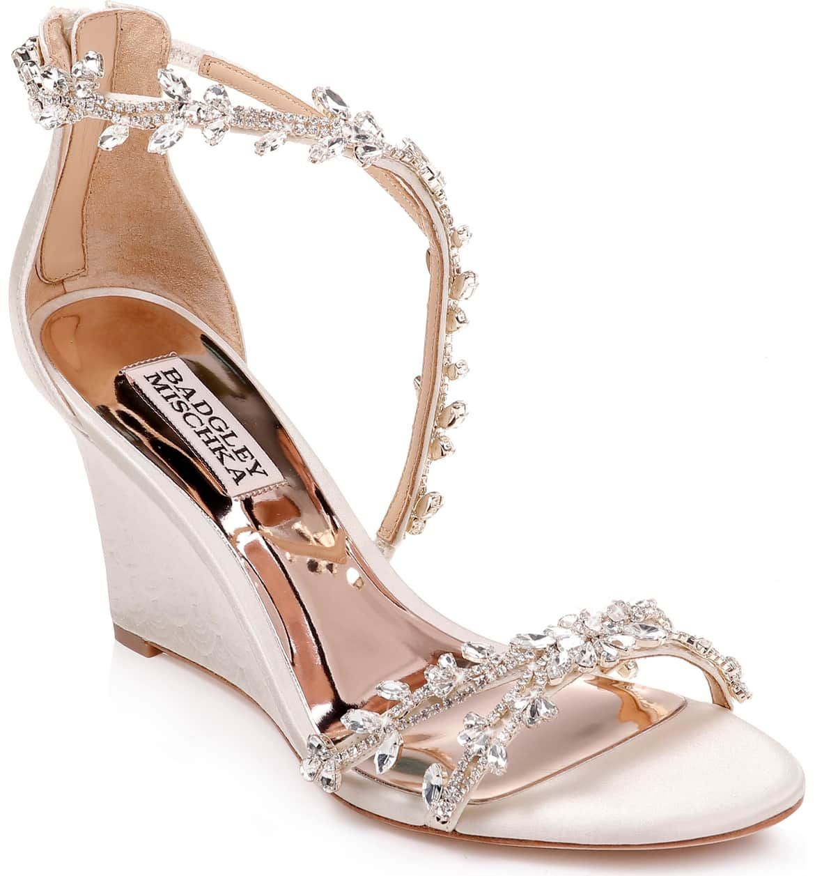 Feather Crystal Embellished Wedge Sandal, Main, color, IVORY