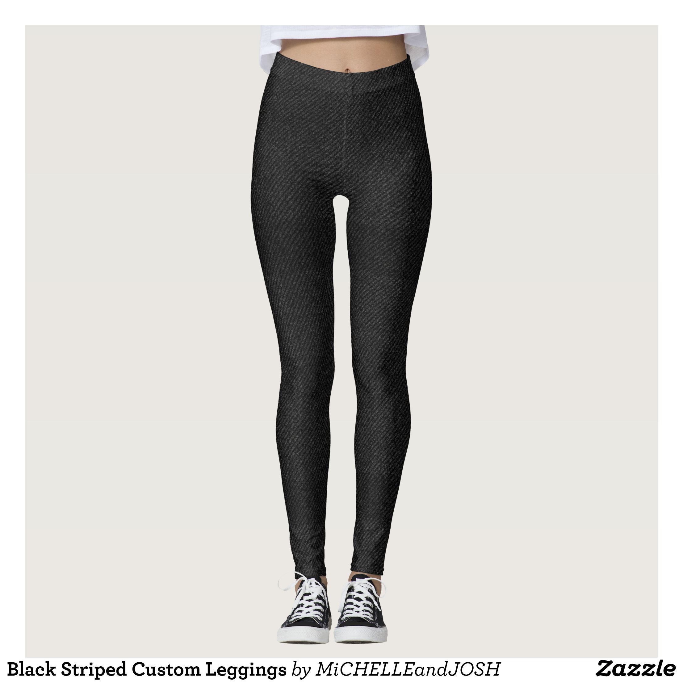 d59030868106 Black Striped Custom Leggings   Beautiful  Yoga Pants -  Exercise Leggings  and  Running