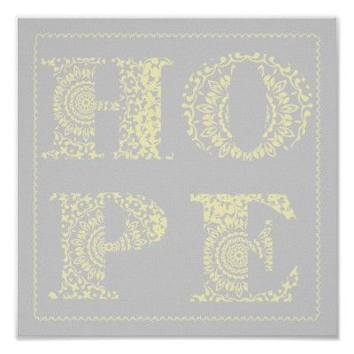 Lace Hope Word Art Yellow Modern Poster Print This Is A Simple But Really Pretty