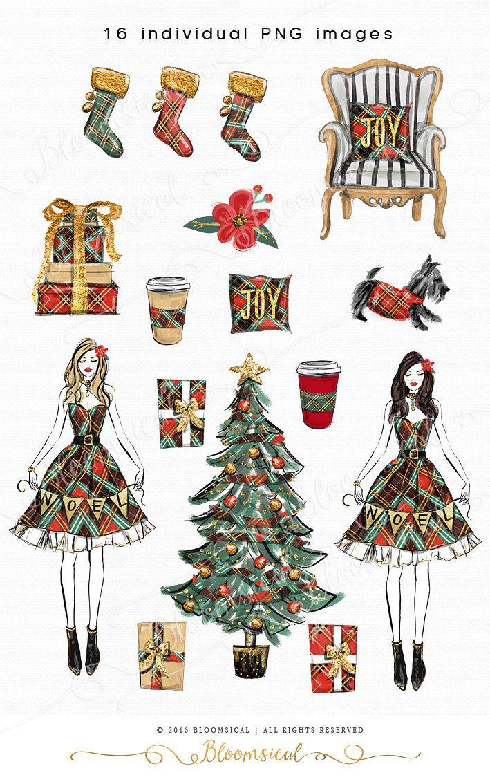 Weihnachtskarten Clipart.Noel Christmas Clip Art Illustration Cozy Holiday Tree Gifts