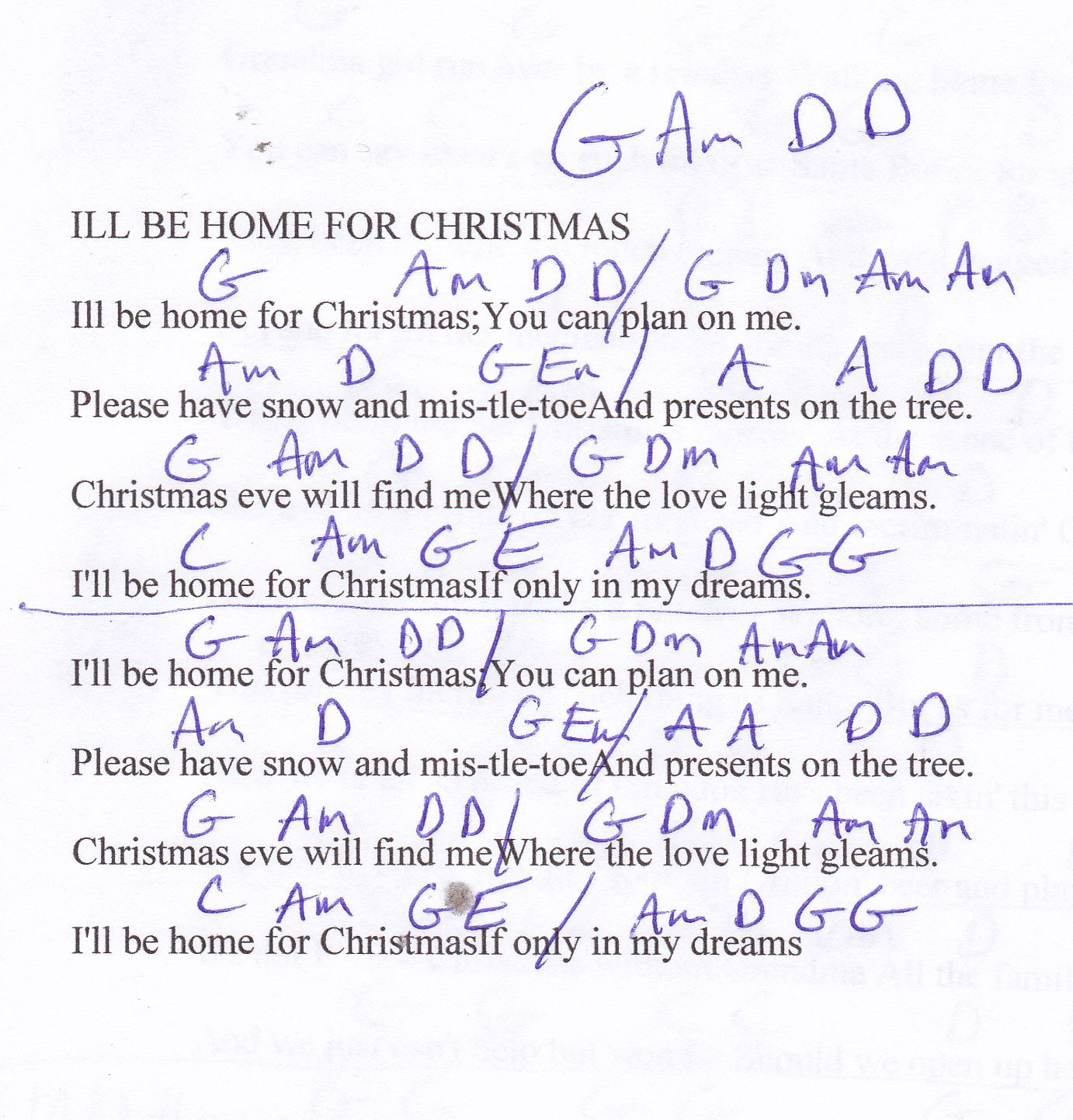ILl Be Home For Christmas Christmas Guitar Chord Chart In G
