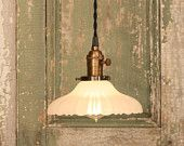 Pendant Light with Vintage Sheffield Style Shade and Reproduction Twisted Wire