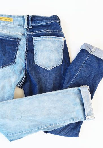 How to create the 2 tone 1 leg bleached denim jeans at home   Easy DIY and tutorial to try with bleach andold jeans