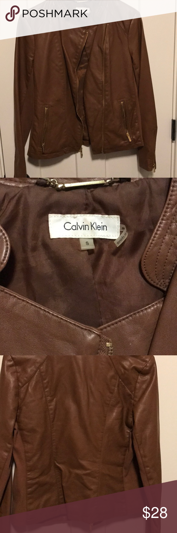 Calvin Klein faux leather jacket! Barely worn! Camel