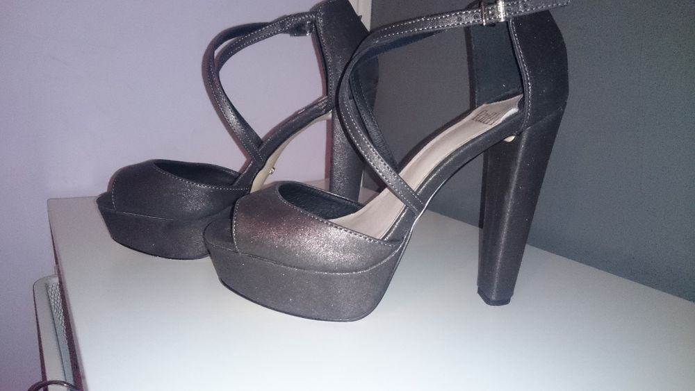 5b61f3673f430 Faith | Metallic Pewter 'Daniella' Cross Strap Platform Heeled Sandals | UK  6 #