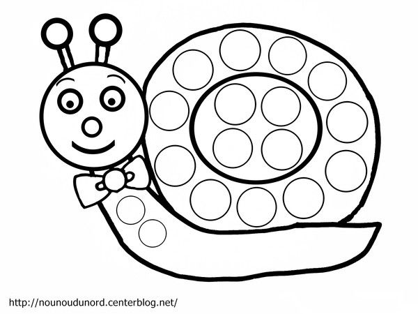 Coloriage escargot à gommettes dessiné par nounoudunord