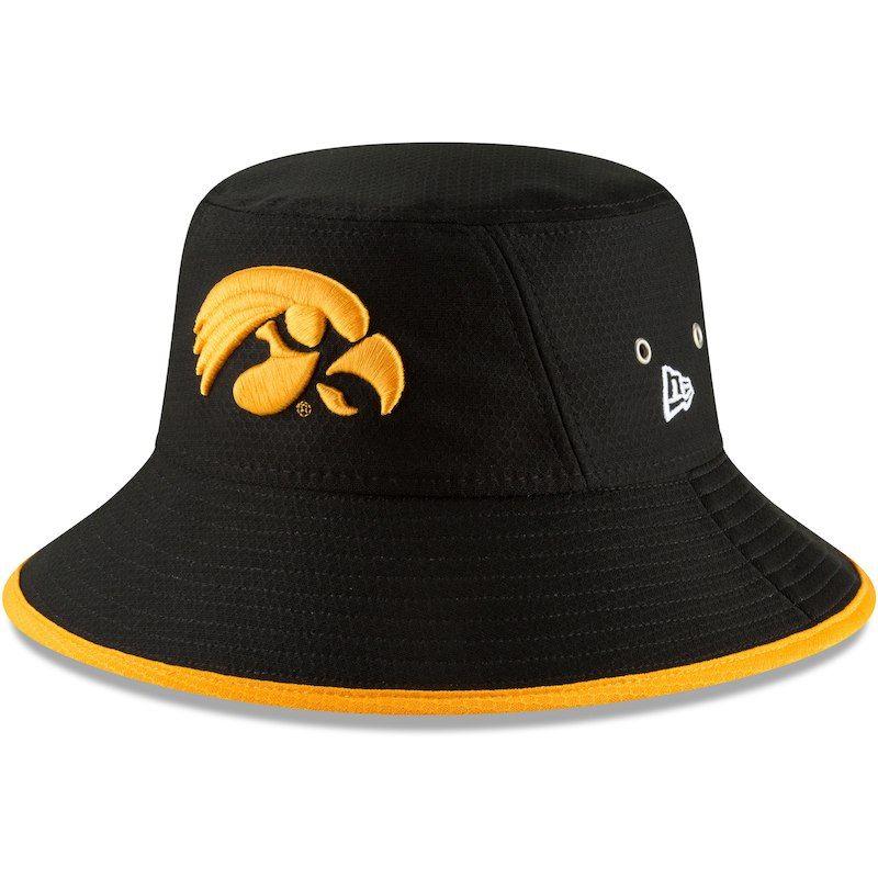 6d9d481c5c3b6 Iowa Hawkeyes New Era Hex Team Bucket Hat – Black