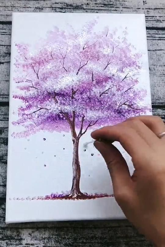 Photo of STEP by STEP acrylic painting Cherry Blossom for beginners
