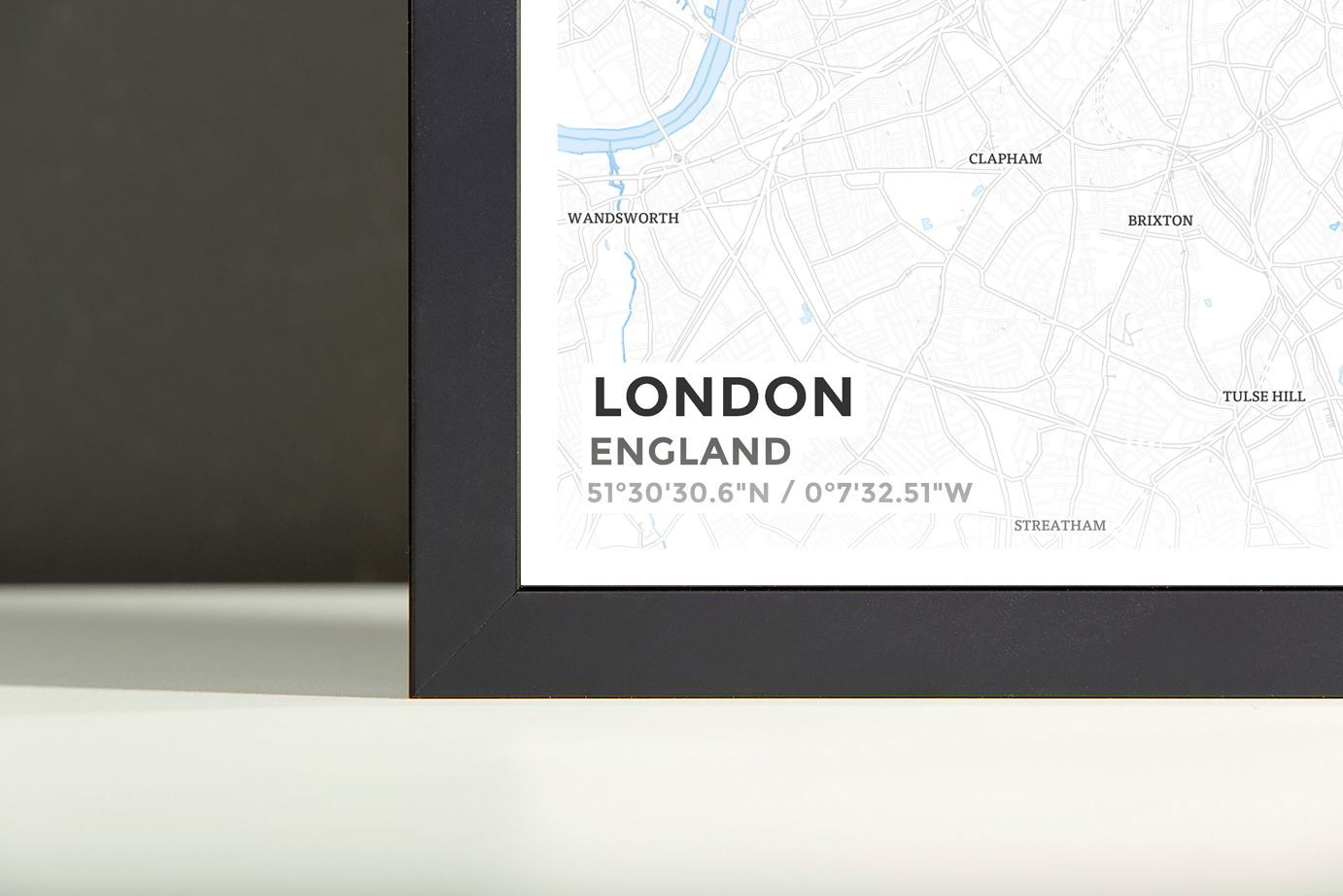 Framed Map Poster of London England - Subtle Ski Map | Products ...