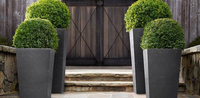 Weathered Cast Stone Slate Planters Restoration Hardware Stone Planters Outdoor Planters Front Door Outdoor Planters