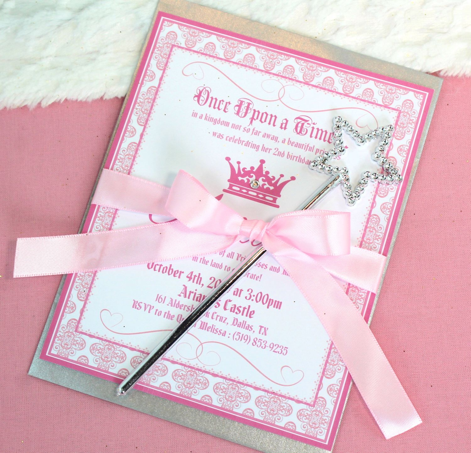 Set of 30 Princess Royal Wand Invitations Pink Damask Princess Theme ...