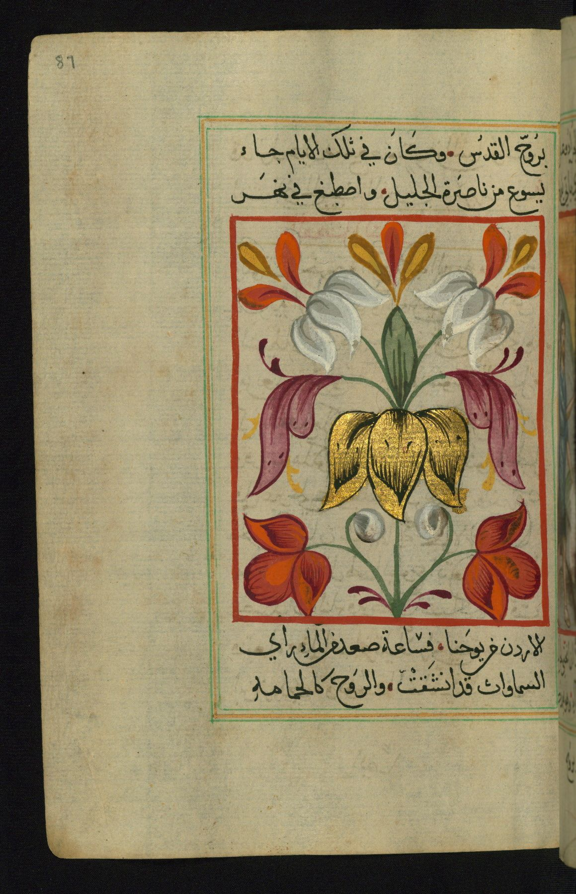 Fol 87a Floral Painted Tailpiece To The Gospel Of Matthew