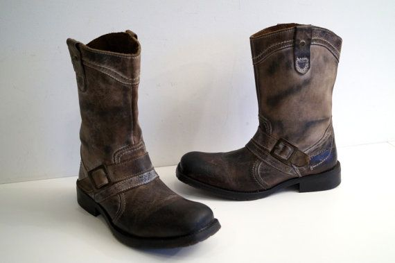 9867fbac1956e Vintage NUSHU Mens Leather Boots Size Eur 42 Distressed genuine ...