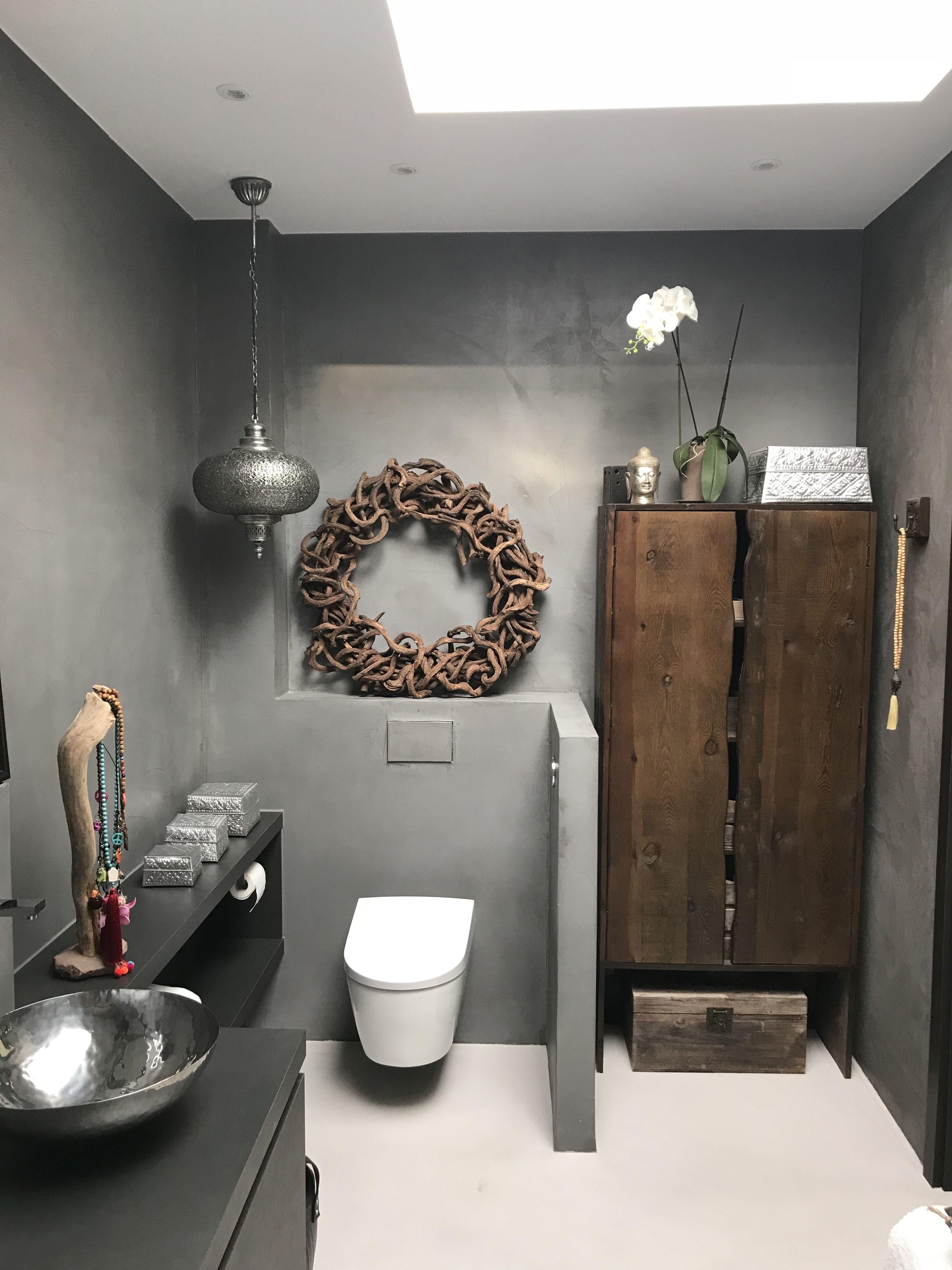Badezimmer Beton Cire Grau mit Holzschrank   Badezimmer ...