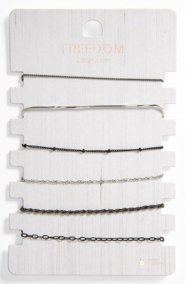 Topshop Delicate Mixed Chain Link Bracelets (Set of 6) at Nordstrom.com.
