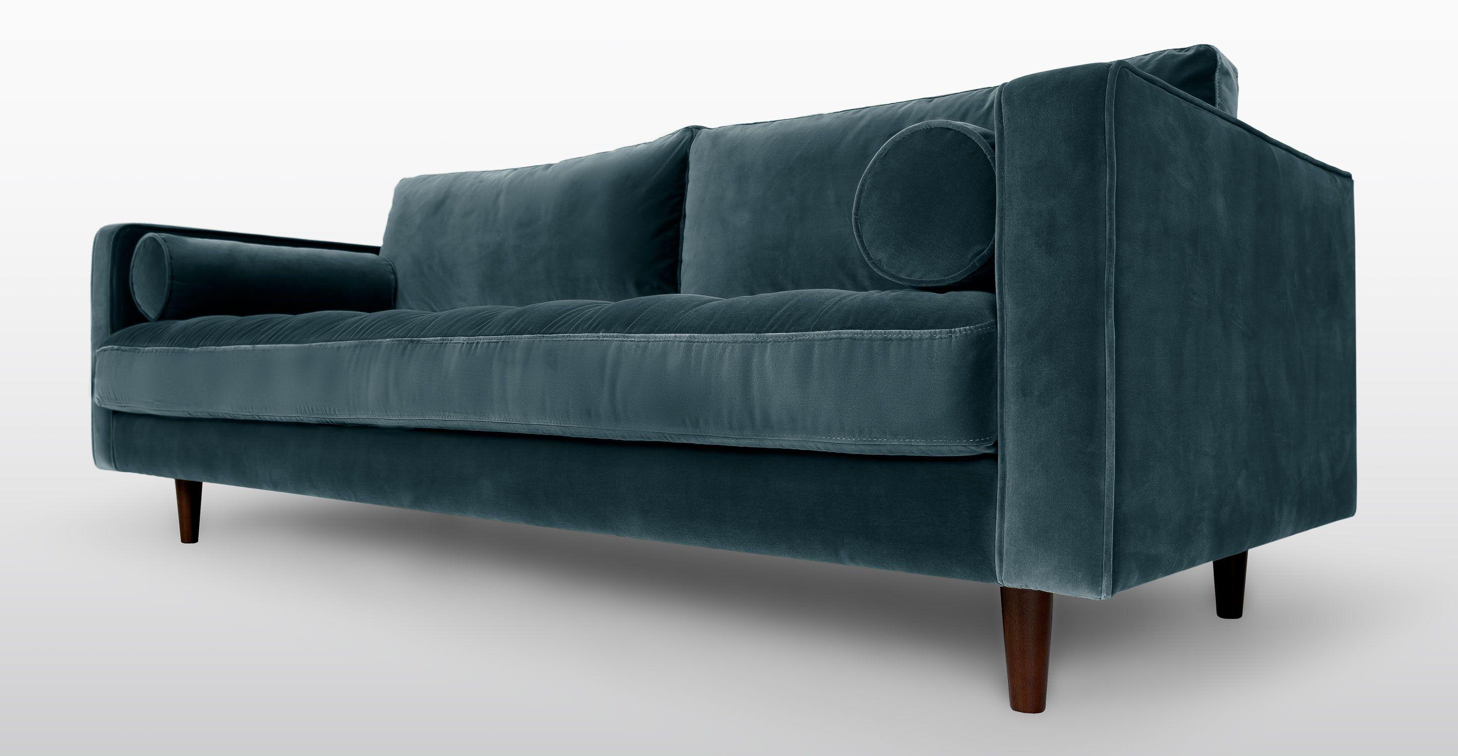 Blue Velvet Tufted Sofa Upholstered Article Sven