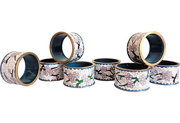 Floral Cloisonné Napkin Rings, S/8 on OneKingsLane.com
