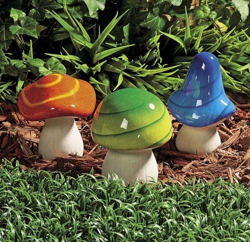 Bright Colorful Mushroom Statues Indoor Outdoor Decor