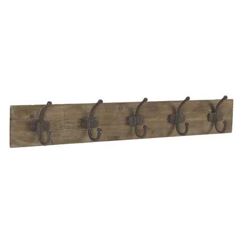 Porte manteaux planche en bois et m tal 2 tailles for Athezza decoration