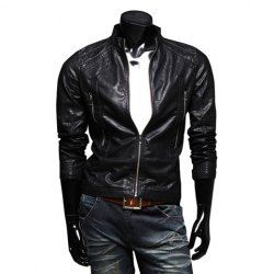 $26.52 Fashionable Stand Collar Zipper Embellished PU Leather Jacket For Men