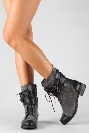 Bamboo Croft-12 Two Tone Military Mid Calf Boot~want 'em.
