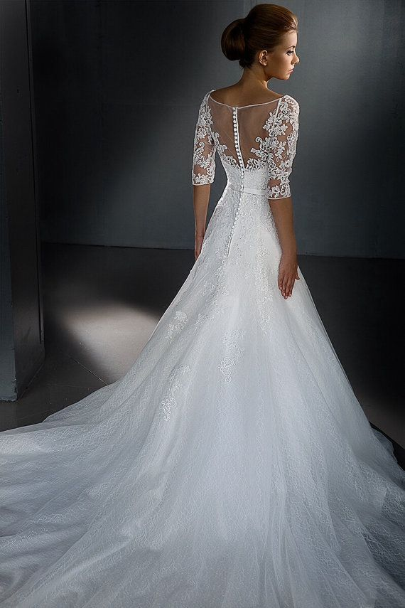 http://www.misaislestyle.com/v-neck-lace-half-sleeves-wedding-dress ...
