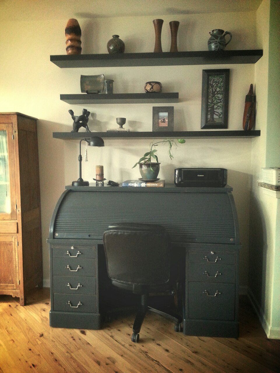 Roll Top refinished with chalk paint for the home office  www.stillgrowing.net - Roll Top Desk 1 Fixer Upper Style Pinterest Desks