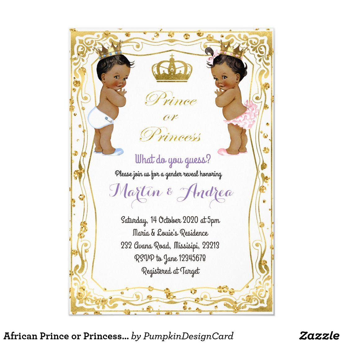 African Prince Or Princess Gender Reveal Invitation Zazzle Com Gender Reveal Invitations Gender Reveal Reveal