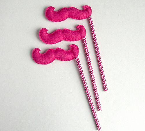 Hot Pink Moustache pencils