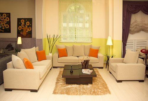 orange - Orange Living Room Design